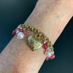 Pink Beaded Bracelet Gold Heart Charm w Pearls